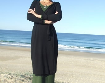 Hoody Wrap Dress- Black Organic Cotton Lycra- Long Sleeve- Knee length- Eco Friendly