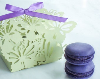 Wedding Favors Macaron Favor Wedding Favor Box Butterfly and (2) French Macaroons