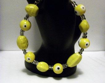 Evil Eye Bead Bracelet: Yellow