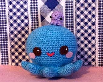 Kawaii Aqua Amigurumi Octopus Plushie and Baby Takochu