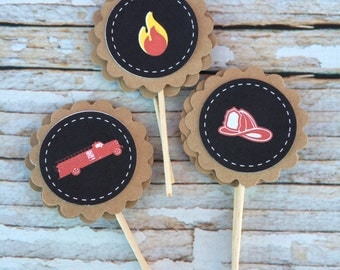 Fireman Cupcake Toppers- (12)