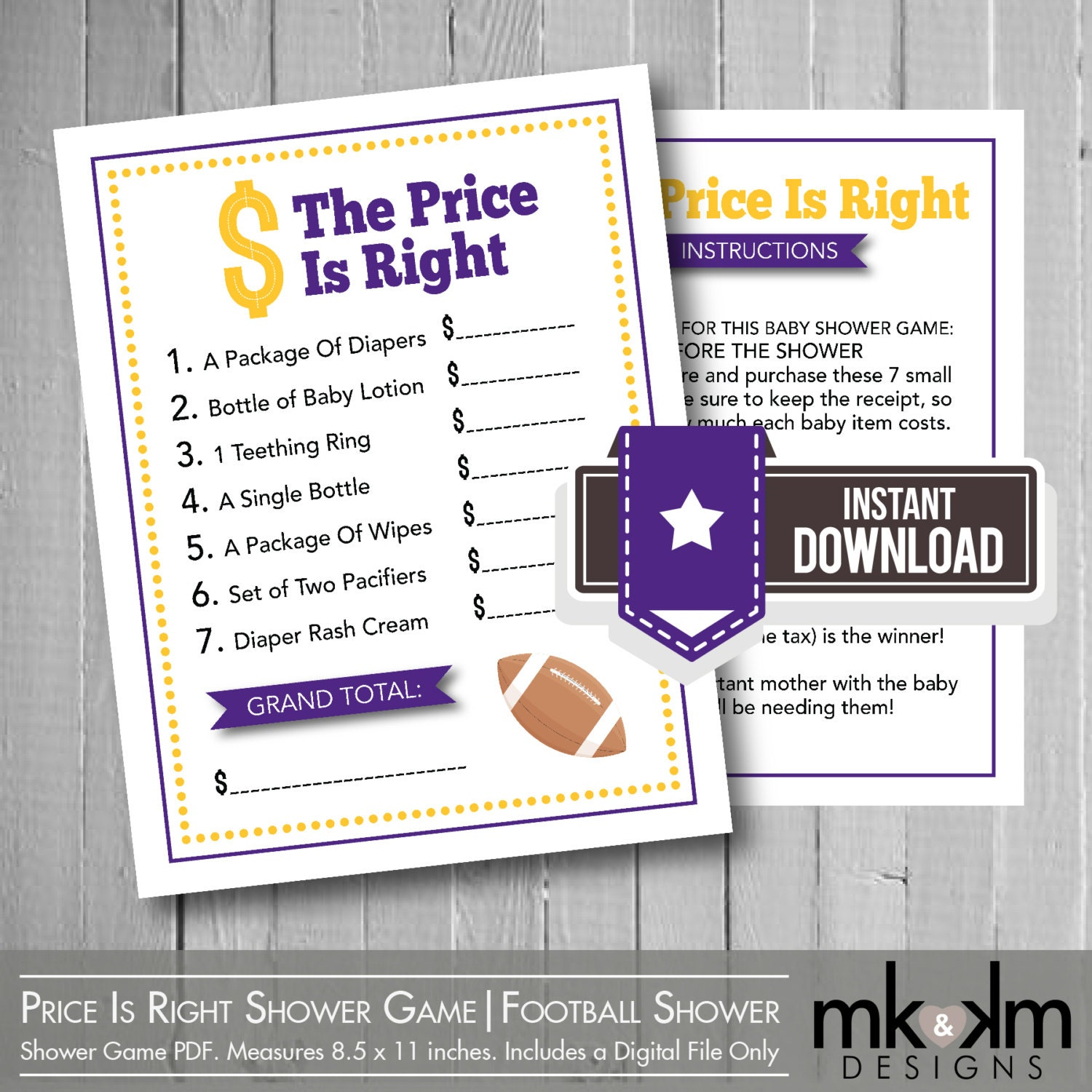 the price is right baby shower game football baby by mkkmdesigns