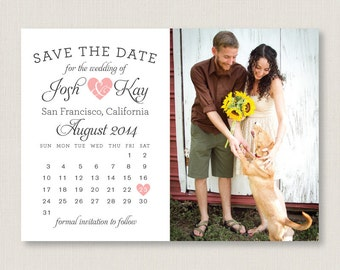 Calendar style save the date. Modern and clean wedding announcement, available as a postcard. Completely customizable and printable. #10