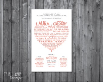Sweetheart Wedding Ceremony Program - Digital Printable