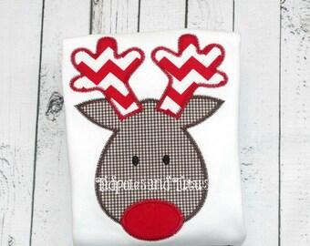 Reindeer Tee, Tshirt or Bodysuit, Personalized Adorable Reindeer Applique, Reindeer Applique Shirt or Bodysuit