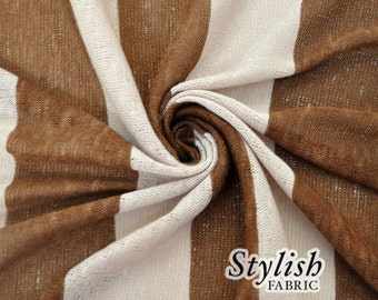 Brown Mocha Brulle Stripes Sweater Knit Fabric - 1 Yard Style 6017