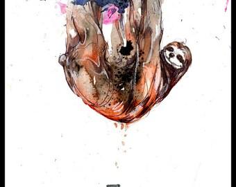 "Sloth Art - Sloth Print of Original Watercolor Painting - ""Sloth Toast"" by Black Ink Art"