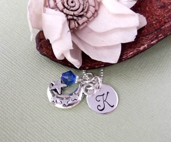 Moon Charm Necklace with Initial Charm and Birthstone- Hand Stamped Children's Jewelry- Initial Necklace