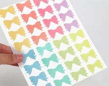 Mini Bow Stickers - 2 sheets - Assorted pastel rainbow: yellow, pink, purple, mint, blue and green - Perfect for scrapbooking