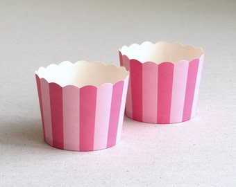 Bright Pink Stripes Baking Cups with Scalloped Tops (set of 12) - Perfect for Circus Theme Party
