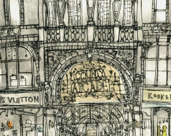 LEEDS COUNTY ARCADE, Shopping Print Yorkshire England Art, Limited Edition Giclee Drypoint, Victorian Building Architecture Clare Caulfield