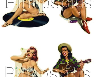 Ukulele Cowgirl Record Girl Rockabilly Pinup Decals Setzer Jones 23