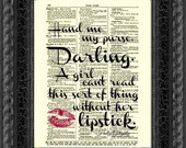 Hand Me My Purse Darling Holly Golightly Quote, Lipstick Quote, Antique Dictionary Print, Unique Wall Decor, Mixed Media Art, Salon Decor
