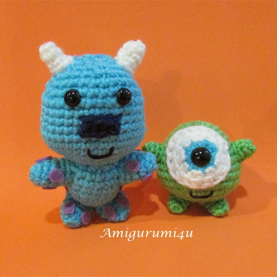 Amigurumi Monsters Inc : Disney Pixar Monsters Inc Mike Sulley Amigurumi Crochet Doll