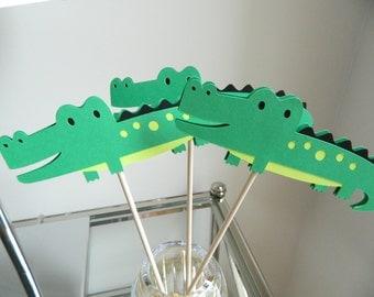 6 Alligator Centerpiece Sticks, Alligator Birthday, Alligator Party, Alligator Table Decor