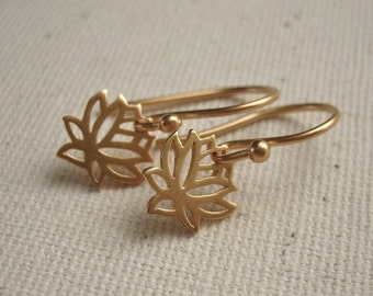 Tiny Lotus FLower Earrings 24K Gold Plated - Simple Dainty Jewelry