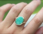 14K Gold Filled Turquoise Druzy Statement Ring