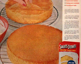1954 Swans Down Cake Mix Ad - Retro Vintage Food Advertising - 1950s - Wall Art