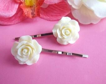 Rose hair pins Cream flower bobby pins  Beige Pin-up barrettes Rockabilly hair clip Flower girl Bridal hair accessories