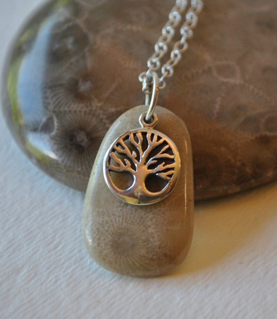 Petoskey Stone necklace with sterling Tree of Life charm , Michigan necklace, Up North