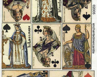 Collage Sheet -  Vintage Playing Card Queens - Handmade Cards, Arts and Crafts, Decoupage