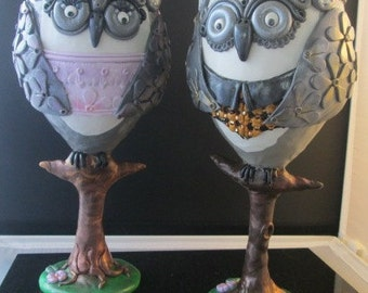 His and Her Owl Wine Glasses