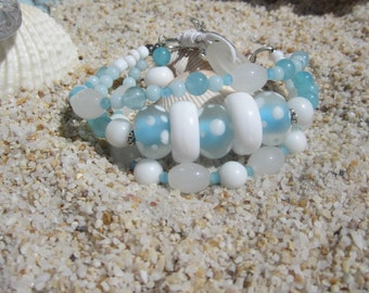 Baby Blue and White Boho Bracelet