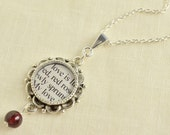 Literature Quote Jewelry - My Love is Like a Red Red Rose -  Robert Burns Love Poem Necklace