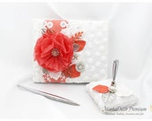 Wedding Lace Guest Book Pen Holder Set Birthday Jeweled Guestbook Custom Bridal Flower Brooch Guest Books in White  and Coral