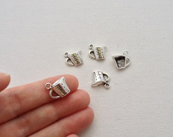 5 - Antique Silver Measuring Cup Charms 13x14mm
