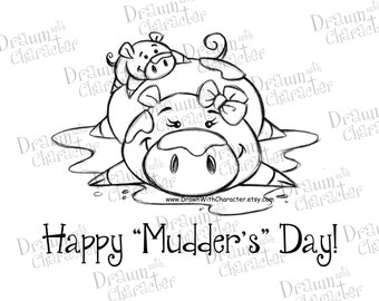 Mommy and Baby Pig Mother's Day Digital Stamp/ KopyKake Image