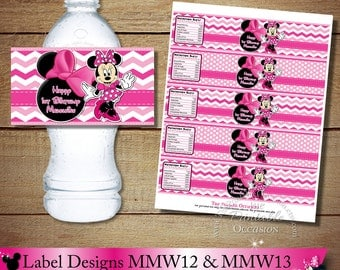 ANY SET of TWO Pink Polka Dot and Chevron Minnie Mouse Water Bottle Labels, Pink Printable Minnie Mouse Bottle Wrappers, DiY Bottle Labels