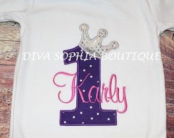 Princess Crown Number Bodysuit / T-shirt  - Birthday Onesie - Tshirt