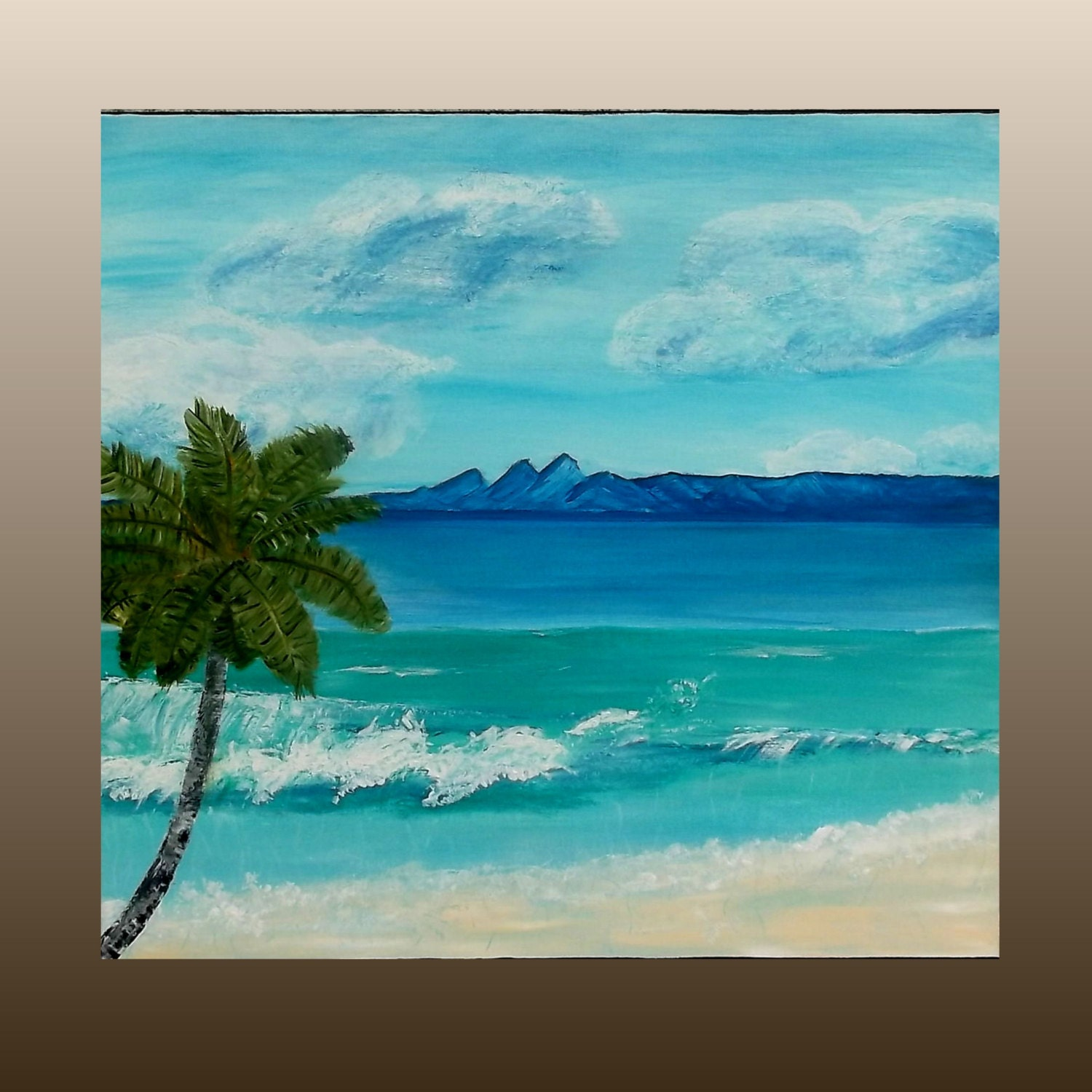 Island Beach Scenes: Painting For Sale Acrylic Beach Painting Tropical Palm Tree