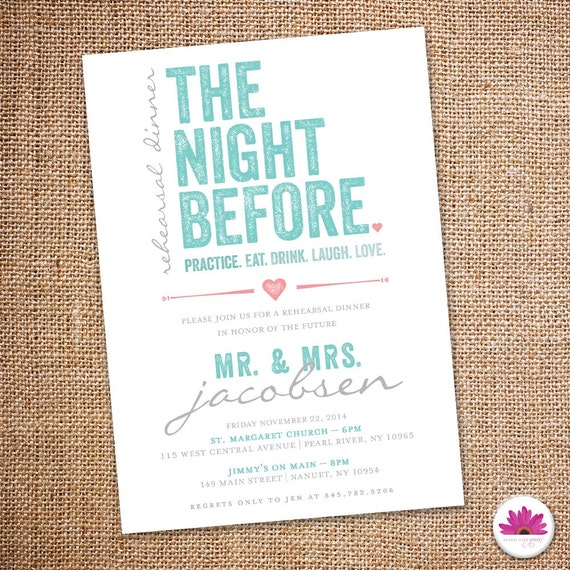 The Night Before Rehearsal Dinner Invitation 5 By EventswithGrace