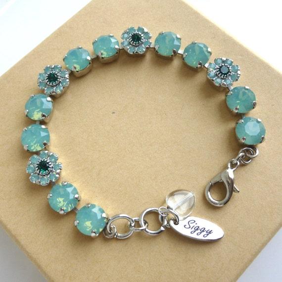 swarovski crystal tennis bracelet 8mm pacific opals flower. Black Bedroom Furniture Sets. Home Design Ideas
