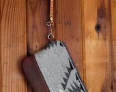 The Great Granite Batholith: Wool and Leather Pouch With Hand Loop