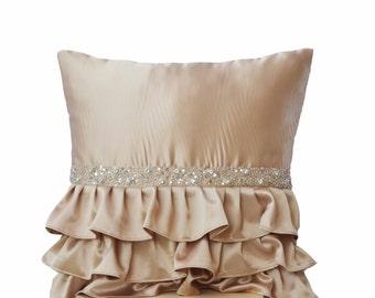 Beige ruffled sequin pillow - 16X16  Decorative Pillow - Latte cushion cover - Gift Pillow - Satin pillows - Sequin pillow - Ruffle pillows