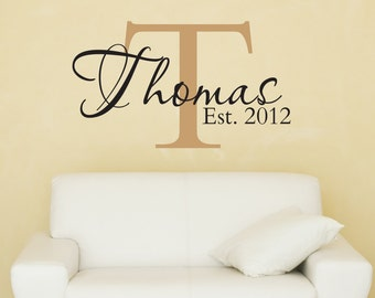 Family Name Monogram Decal - Family Name Decal - Wall Decal - Decals - Vinyl Decal - Wall Decor - Decals -Monongrams - Decal