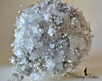 Teardrop bouquet, Crystal Bouquet, Brooch Bouquet, Jewellery Bouquet. Vintage wedding, art deco wedding