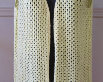1970s Boho Yellow Crochet Sweater Vest