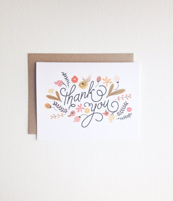 Thank You Card -  Greeting Card - All occasion card - Floral illustration card - Wedding Thank you - Birthday Party Thank You Card