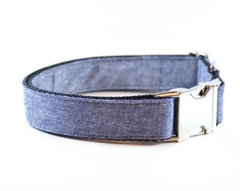 Denim Blue Collar - Linen Chambray Dog and Cat Collar with Metal Hardware