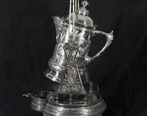 Antique Pairpoint Tilting Ice Pitcher and Stand, Bird and Insect Embossing, Floral Urn Etching, Quadruple Silver Plate