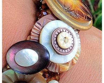OOAK Handmade MOP Button Bracelet, Vintage Button and Czech Glass Beaded Cuff Stretch Bracelet, Cream,Ivory,Brown, and Gold Bracelet