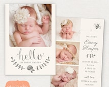 Birth Announcement Template - Pencil Bee CB031 5x7 card - INSTANT DOWNLOAD