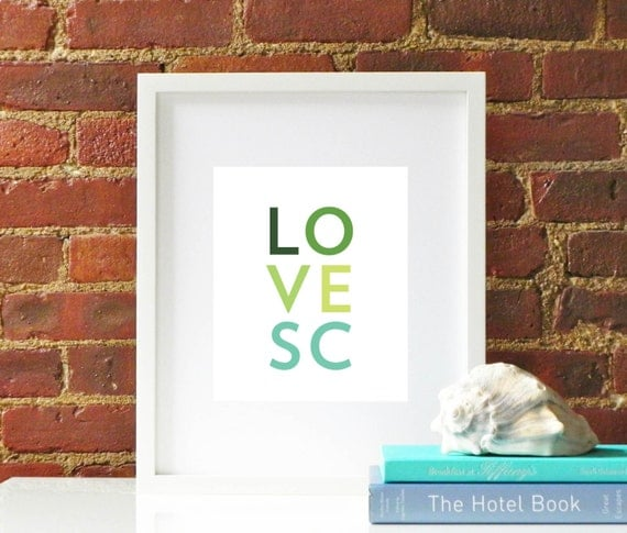 Items Similar To Green/ Teal Love South Carolina Original