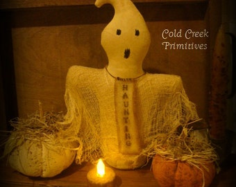 Primitive Ghost Halloween Stump Doll