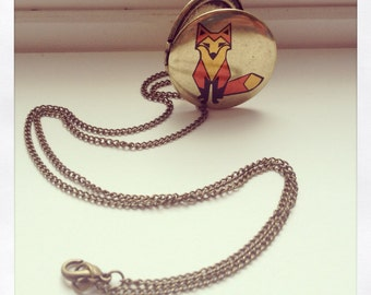 Fox Necklace / Fox Jewelry / fox locket / brass fox necklace/ fox jewelry / fox gift / Red fox jewelry / Fox accessories