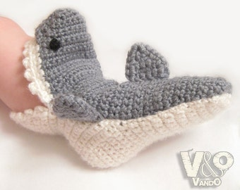 Handmade Crochet Shark Slippers, Shoes Slipper, Baby Slipper, slipper socks
